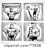 Royalty Free RF Clipart Illustration Of A Digital Collage Of Four Black And White Poses Of A Body Builder by BestVector