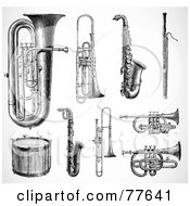 Royalty Free RF Clipart Illustration Of A Digital Collage Of Antique Brass Instruments And Drums by BestVector