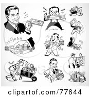 Royalty Free RF Clipart Illustration Of A Digital Collage Of Retro Black And White Wealthy Businessmen by BestVector