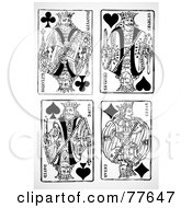 Royalty Free RF Clipart Illustration Of A Digital Collage Of Black And White Antique King Playing Cards