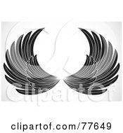Royalty Free RF Clipart Illustration Of A Pair Of Black And White Spanned Feathered Wings by BestVector
