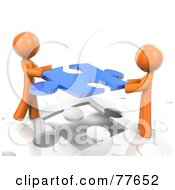 Royalty Free RF Clipart Illustration Of Two 3d Orange Factor Men Inserting A Blue Piece Into A Jigsaw Puzzle by Leo Blanchette #COLLC77652-0020
