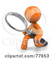 Royalty Free RF Clipart Illustration Of A 3d Orange Factor Man Kneeling And Searching With A Magnifying Glass