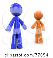 Royalty Free RF Clipart Illustration Of A Blurred 3d Orange Factor Man Reaching For A Blue Man