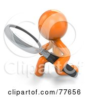 Royalty Free RF Clipart Illustration Of A 3d Orange Factor Man Kneeling And Using A Magnifying Glass by Leo Blanchette