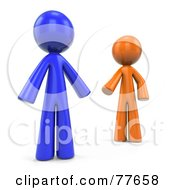 Royalty Free RF Clipart Illustration Of 3d Orange And Blue Factor Men Reaching For Each Other by Leo Blanchette