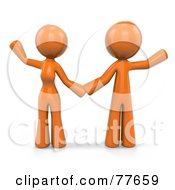 Royalty Free RF Clipart Illustration Of A 3d Orange Factor Couple Holding Hands And Waving