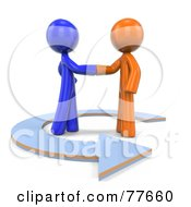 Royalty Free RF Clipart Illustration Of 3d Orange And Blue Factor Men Shaking Hands In An Arrow