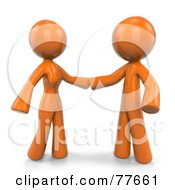 Royalty Free RF Clipart Illustration Of A 3d Orange Factor Couple Reaching For Each Other by Leo Blanchette