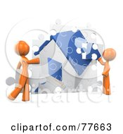 Royalty Free RF Clipart Illustration Of A 3d Orange Factor Couple Assembling Their Puzzle House by Leo Blanchette