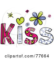 Royalty Free RF Clipart Illustration Of A Colorful Kiss Word by Prawny