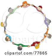 Royalty Free RF Clipart Illustration Of A Circle Of Diverse Happy Cartoon Children Holding Hands And Looking Up