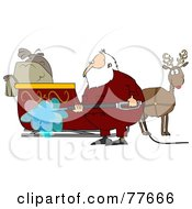 Royalty Free RF Clipart Illustration Of Santa Spraying Down His Sleigh With A Pressure Washer