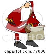 Kris Kringle Carrying A Cardboard Box And Looking Back