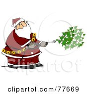 Kris Kringle Spraying Christmas Trees Out Of A Pressure Washer