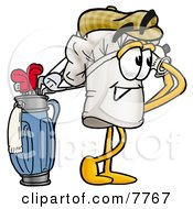 Clipart Picture Of A Chefs Hat Mascot Cartoon Character Swinging His Golf Club While Golfing by Toons4Biz