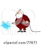 Kris Kringle Wearing Pajamas And Operating A Pressure Washer