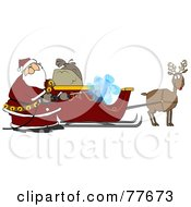 Royalty Free RF Clipart Illustration Of Santa Pressure Washing His Sleigh For Christmas Eve by djart
