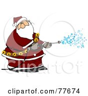 Kris Kringle Spraying Snow Out Of A Pressure Washer