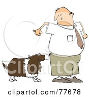 Royalty Free RF Clipart Illustration Of A Nervous Man Watching A Dog Sniff His Butt