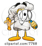 Clipart Picture Of A Chefs Hat Mascot Cartoon Character Looking Through A Magnifying Glass by Toons4Biz