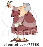 Royalty Free RF Clipart Illustration Of A Senior Woman Smoking A Cigarette And Drinking Coffee In A Robe