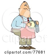 Royalty Free RF Clipart Illustration Of A House Husband Wearing An Apron And Drying A Dish