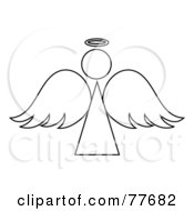Royalty Free RF Clipart Illustration Of A Black And White Angel Outline