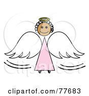 Royalty Free RF Clipart Illustration Of A Black Stick Angel Girl With A Halo And Wings