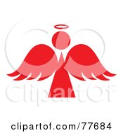 Royalty Free RF Clipart Illustration Of A Red Angel Silhouette With A Halo