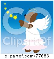 Royalty Free RF Clipart Illustration Of A Brown Angel Bear In The Sky With Stars by Pams Clipart