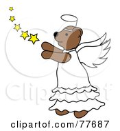 Royalty Free RF Clipart Illustration Of A Brown Angel Bear With Stars by Pams Clipart