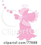 Royalty Free RF Clipart Illustration Of A Pink Angel Bear With Stars by Pams Clipart