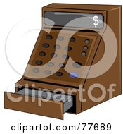 Royalty Free RF Clipart Illustration Of A Brown Cash Register In A Store by Pams Clipart