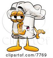 Clipart Picture Of A Chefs Hat Mascot Cartoon Character Whispering And Gossiping by Toons4Biz