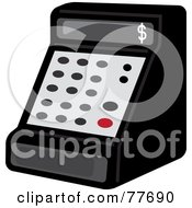 Royalty Free RF Clipart Illustration Of A Black Cash Register In A Store by Pams Clipart