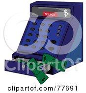 Blue Cash Register With Cash