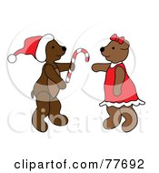 Royalty Free RF Clipart Illustration Of A Christmas Teddy Bear Giving A Candy Cane by Pams Clipart