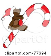 Royalty Free RF Clipart Illustration Of A Christmas Teddy Bear Riding A Candy Cane