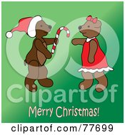 Royalty Free RF Clipart Illustration Of A Merry Christmas Greeting Of A Teddy Bear Giving A Candy Cane Over Green by Pams Clipart