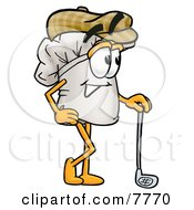 Clipart Picture Of A Chefs Hat Mascot Cartoon Character Leaning On A Golf Club While Golfing by Toons4Biz