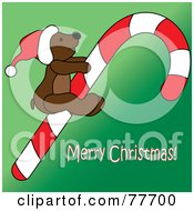 Royalty Free RF Clipart Illustration Of A Merry Christmas Greeting With A Teddy Bear On A Candy Cane Over Green by Pams Clipart
