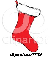 Royalty Free RF Clipart Illustration Of A Solid Red Christmas Stocking With White Fleece by Pams Clipart