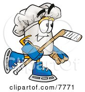 Clipart Picture Of A Chefs Hat Mascot Cartoon Character Playing Ice Hockey by Toons4Biz