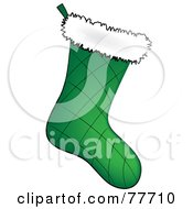 Quilted Green Christmas Stocking With White Fleece