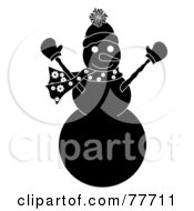 Royalty Free RF Clipart Illustration Of A Black And White Snowman Holding His Arms Up by Pams Clipart