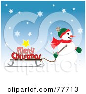 Royalty Free RF Clipart Illustration Of A Snowman Pulling A Merry Christmas Greeting On A Sled by Pams Clipart