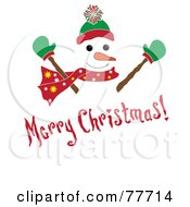 Royalty Free RF Clipart Illustration Of A Red Merry Christmas Greeting Over A Snowman by Pams Clipart
