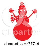 Royalty Free RF Clipart Illustration Of A Red Snowman Holding His Arms Up by Pams Clipart