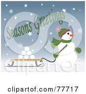 Royalty Free RF Clipart Illustration Of A Seasons Greetings Of A Snowman Pulling Snowballs On A Sled Through The Snow by Pams Clipart